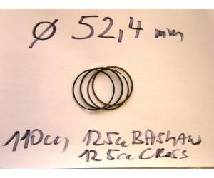 sada pistnich krouzku prumer 52,4  - pistni krouzky kruhy vhodne AV X8 110 cc motory 125cc a Bashan BS125, 125cc AGB-29